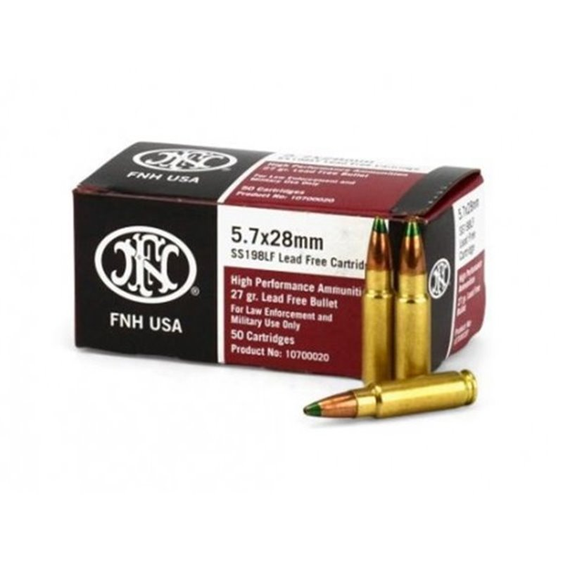 FNH 5.7x28mm SS198LF 27 Grain Green Tip Hollow Point - 50 Rounds per Box